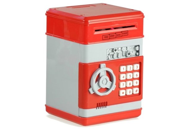 ATM Cash Machine - Red Moneybox for Children - Learn to Save Money
