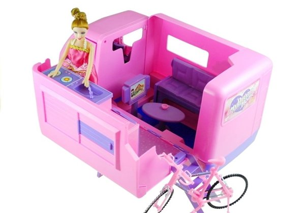 Camper Camping  Pink Vehicle For Doll Bike 50 cm