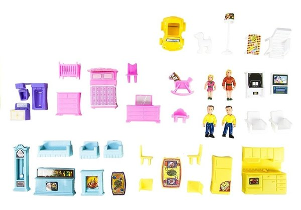 Childrens Doll House With Accessories 136 PCS