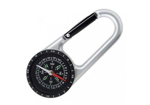 Compass Carabiner Find Your Way Points North - Silver
