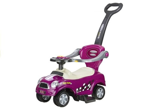 Coupe Car Manual Ride On with Parent Handle - Purple