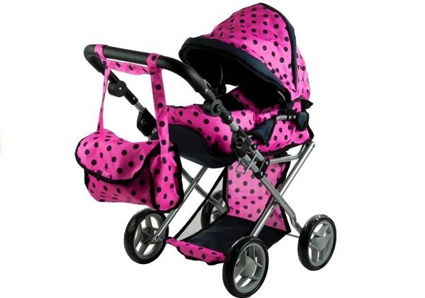 Doll Bogie and Stroller Alice- with Carrier, Bag and Bedding Pink with Black Dots