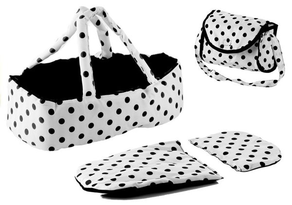 Doll Bogie and Stroller Alice- with Carrier, Bag and Bedding White with Black Dots