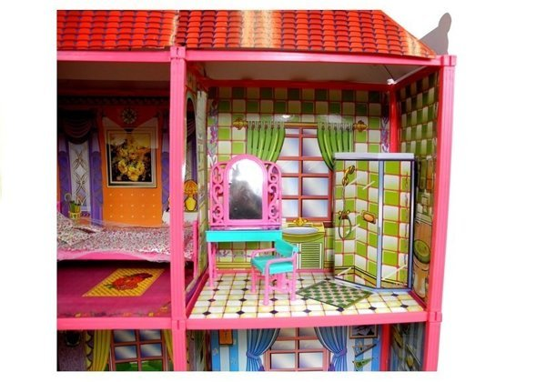 Dolls' House - Large Villa with Furniture + FREE DOLL