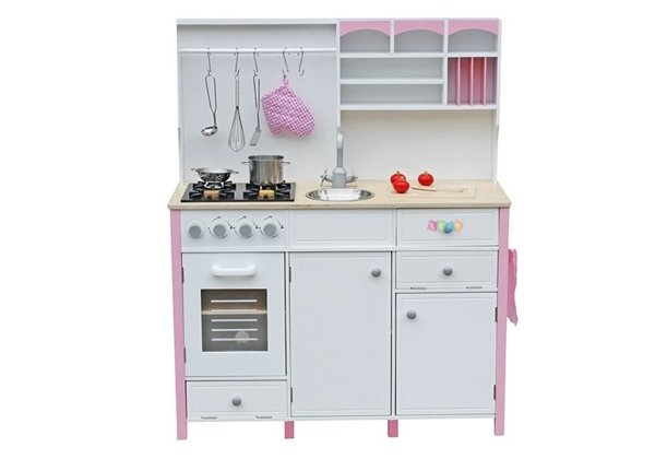 Wooden Kitchen with an Oven and Accessories Pink-White