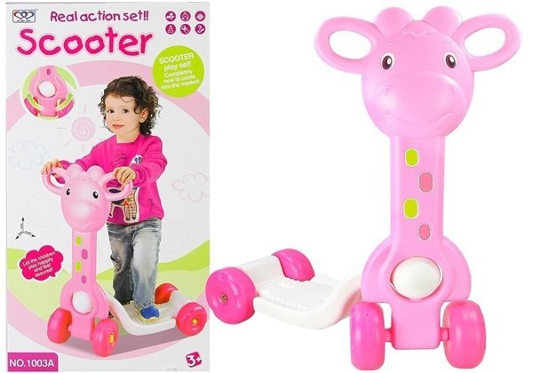 4 Wheeled Kids Scooter Giraffe Shaped Stable Colorful Children's Toy- Pink