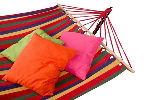 Hammock with Frame and Slat Colorful Stripes 200 cm x 100 cm