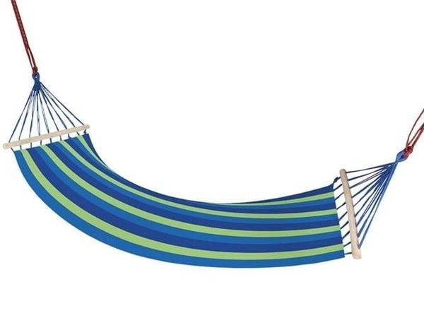 Hammock with Slat Blue-Green Stripes