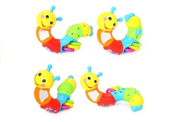Lovely Worm Rattle Teether Safe Mirror Educational Toy