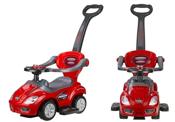 MEGA CAR Manual Ride On with Parent Handle - Red