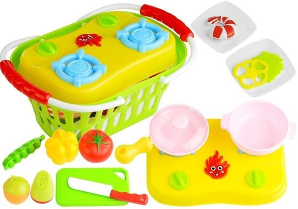 Set Little Portable Cooker in Shopping Basket + Accessories