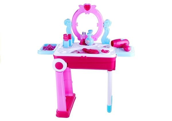 Toalette Suitcase 2in1 Dressing Table Accessories Pink 14 Elements