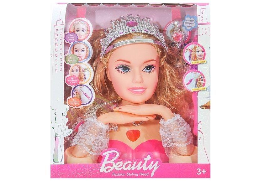 Frisierkopf Mit Tiara Frisurenkopf Puppenkopf Blond Spielzeug Für