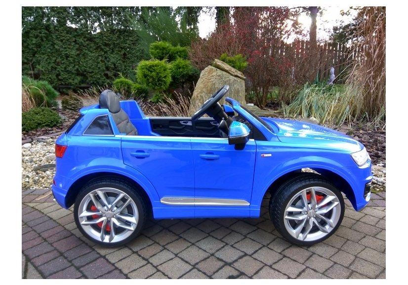 elektroauto f r kinder audi q7 s line blau ledersitz 2 4g. Black Bedroom Furniture Sets. Home Design Ideas