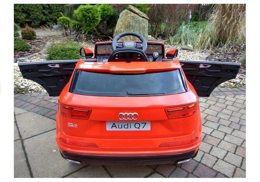 elektroauto f r kinder audi q7 s line rot ledersitz eva reifen elektrofahrzeuge autos. Black Bedroom Furniture Sets. Home Design Ideas