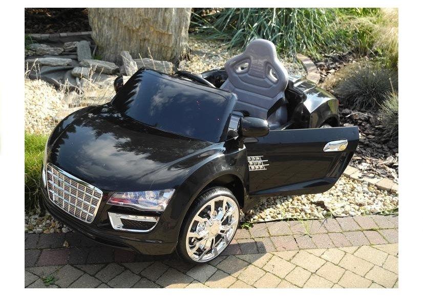 Elektroauto für Kinder KD100 Schwarz 2x45W 2.4G RC LED Lichter FM Radio Kinderfahrzeuge