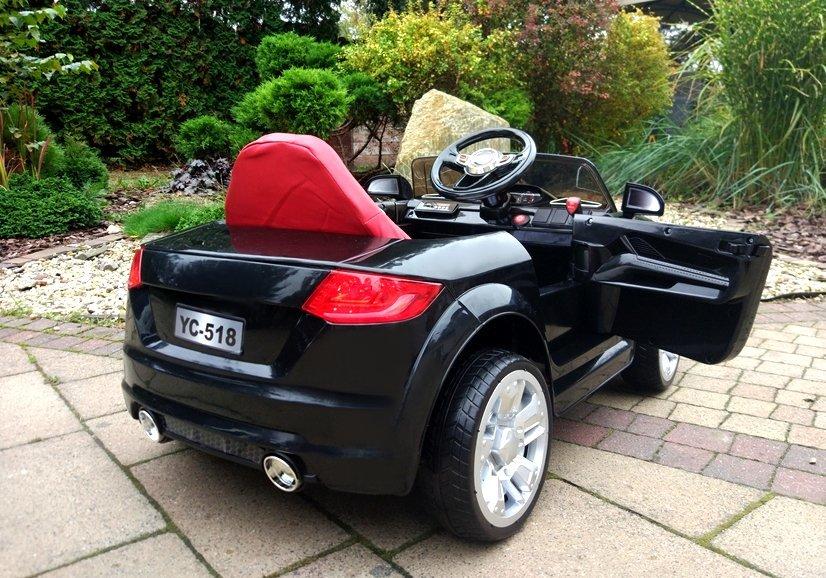 kinderauto mit akku yc518 schwarz auto f r kinder 2 4g led. Black Bedroom Furniture Sets. Home Design Ideas