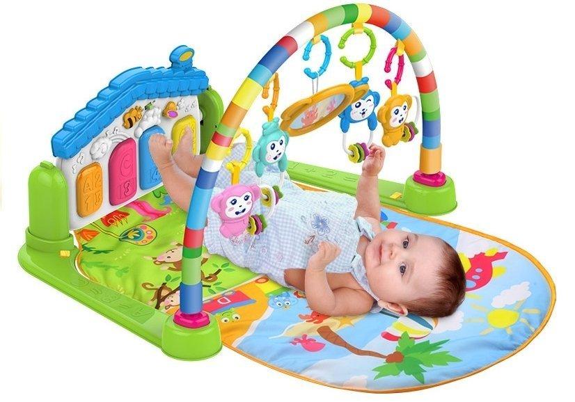 krabbeldecke spieldecke f r babys piano 4 rasseln spiegel soundeffekte spielzeug spielzeug. Black Bedroom Furniture Sets. Home Design Ideas