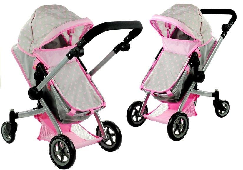 Puppenwagen Alice Kinderwagen 2in1 Puppe Babytrage Set Puppenkarre Wagen Rosa Babypuppen & Zubehör Puppenwagen