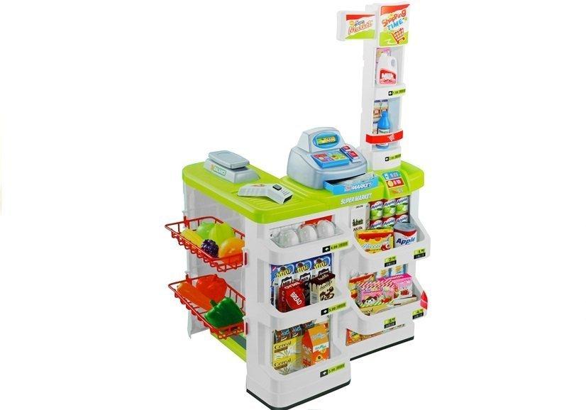 supermarkt kaufladen f r kinder kaufmannsladen mit einkaufswagen set spielzeug k che. Black Bedroom Furniture Sets. Home Design Ideas