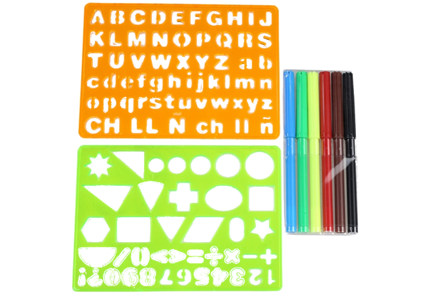 Schablonen-Set Alphabet Ziffern Formen 6 Filzstifte Set für Kinder