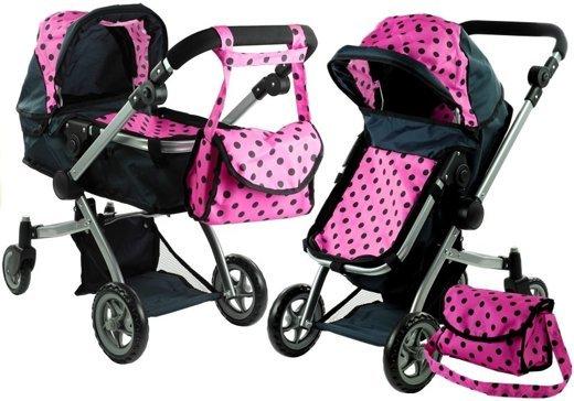 Babypuppen & Zubehör Puppen & Zubehör Puppenwagen Alice 2in1 Kinderwagen Puppenkarre Wagen Rosa